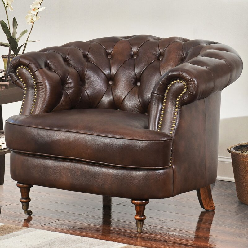 Mccarville Tufted Top Grain Leather Chesterfield Chair