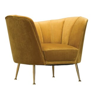 Ferrin Velvet Upholstered Barrel Chair by Everly Quinn