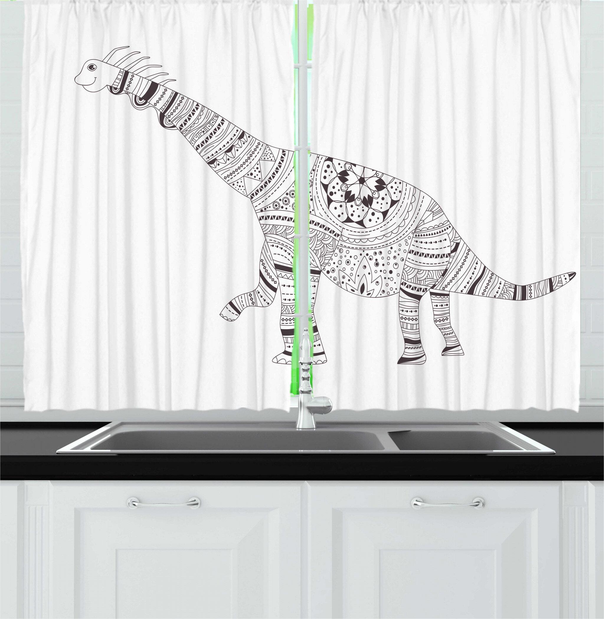 East Urban Home Dino Monochromeinspired Sketch Dinosaur Simple Print Plain Background Kitchen Curtain Wayfair