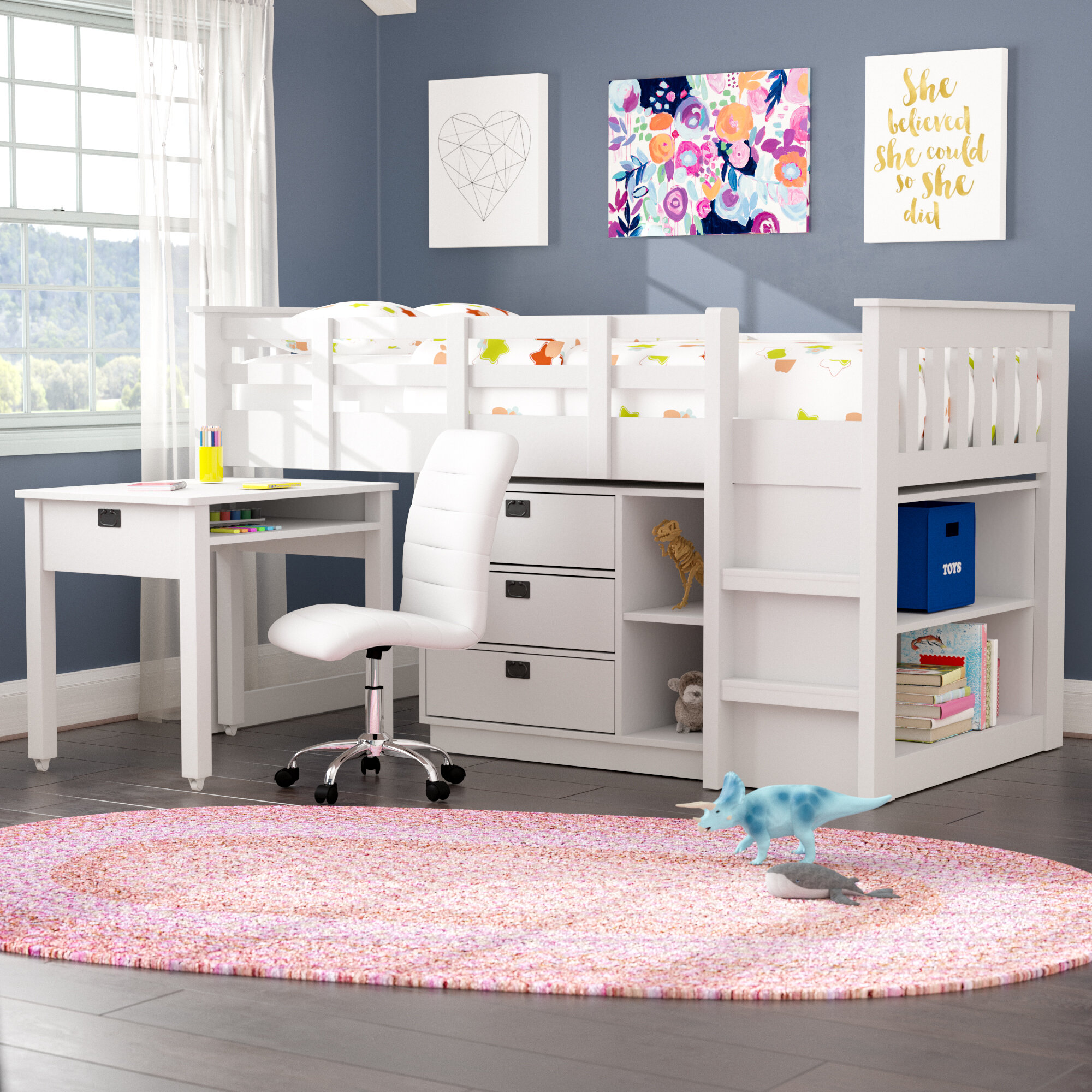 Mack Milo Angelica Twin Low Loft Bed With Shelves And Drawers Reviews