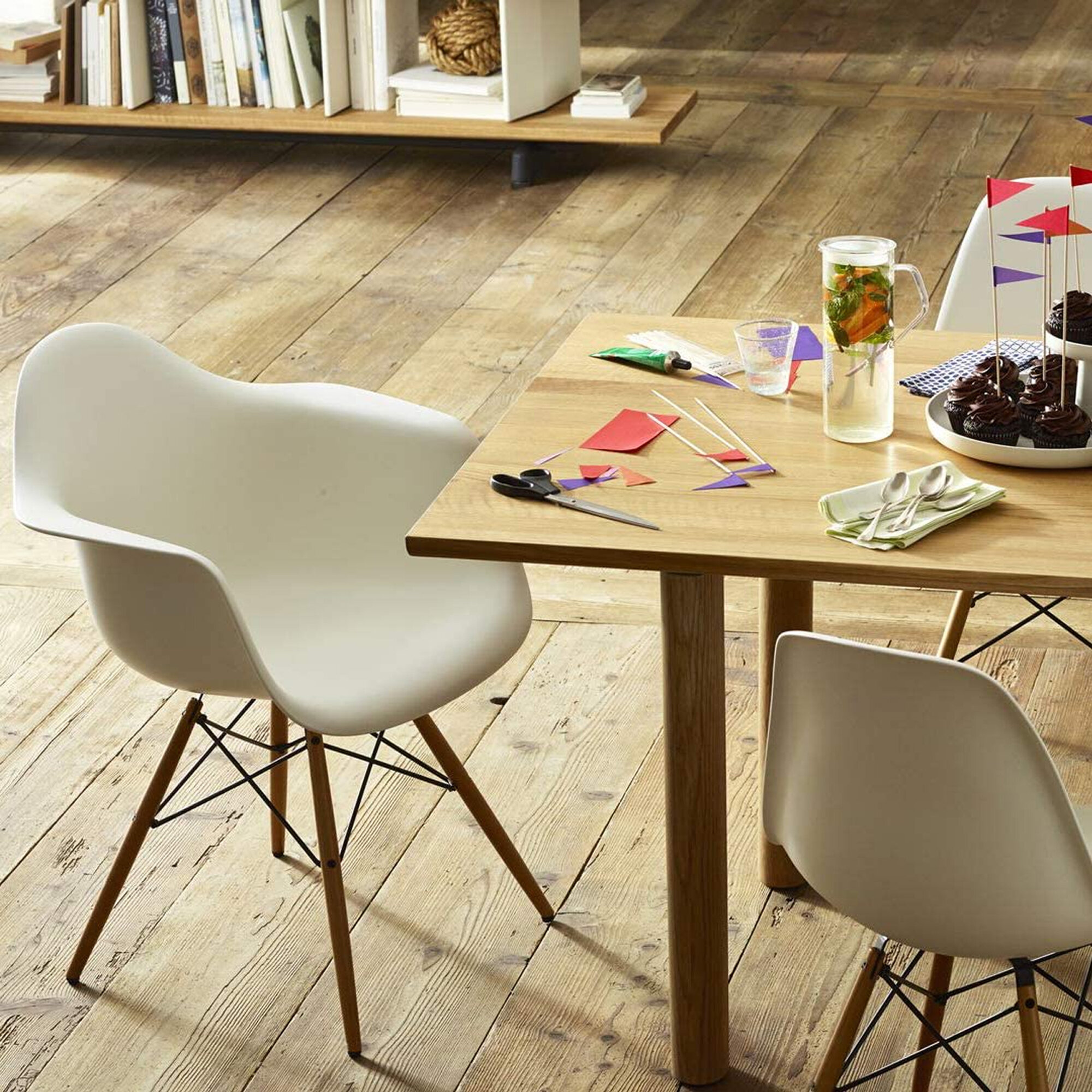 George Oliver Set Of 12 Modern Eames Style Dining Chair Mid-Century DSW Side  Arm Chair With Natural Wood Legs, Shell Lounge Plastic Armless Chair For