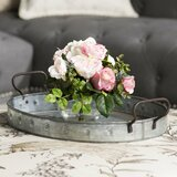 Myrte Faux Mixed Rose & Hydrangea in Glass Vase