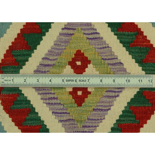 Foundry Select Hults Handmade Kilim Wool Orange Green Red Rug Wayfair