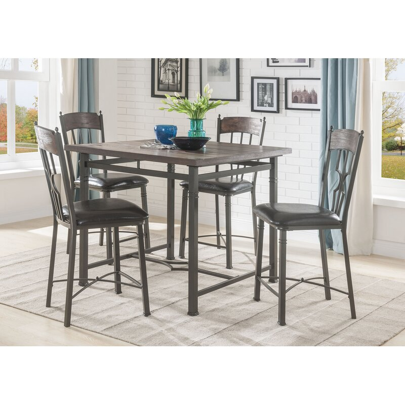 August Grove Gambino Counter Height 5 Piece Pub Table Set