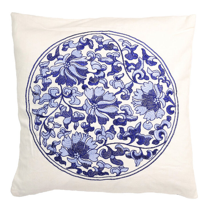 Wildon Home Traditional Chinese Floral Decorative Cotton Throw Pillow Wayfair