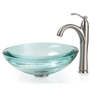 Read Reviews Clear Glass Glass Circular Vessel Bathroom Sink with Faucet By Kraus