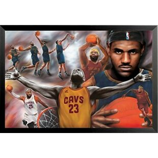 'Lebron James - Collage Open Arms' Framed Acrylic Painting Print on Paper by Buy Art For Less