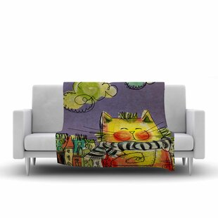 Best Reviews Carina Povarchik Urban Cat with Scarf Illustration Fleece Blanket ByEast Urban Home