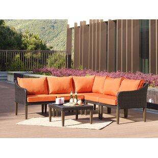 Fentress 6 Piece Rattan Sectional Set with Cushions