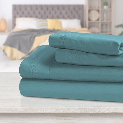 Turquoise Stripe Queen 4pc Bed Sheet Set 1000 Thread Count 100/% Egyptian Cotton