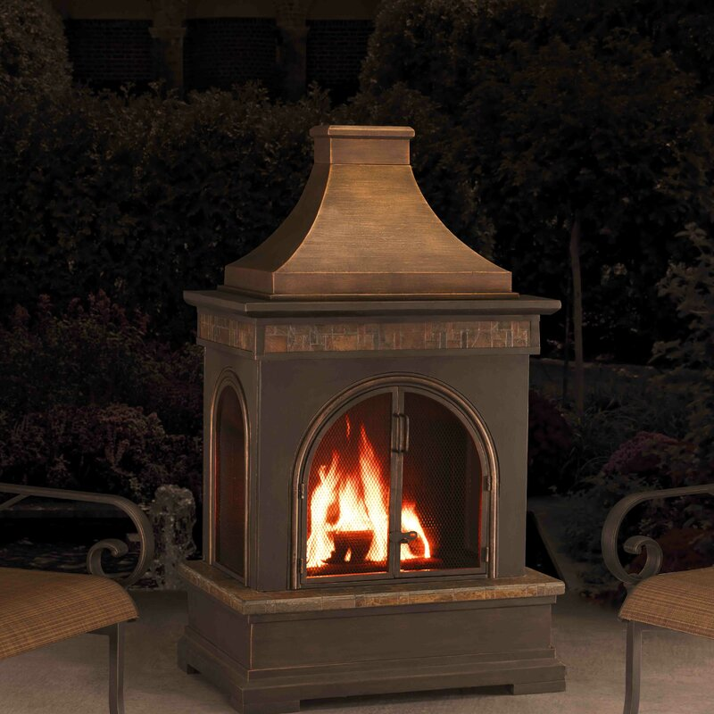 Elegant Hardy Slate Steel Wood Burning Outdoor Fireplace