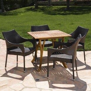 Dunlop Outdoor Acacia Wood/Wicker 5 Piece Dining Set