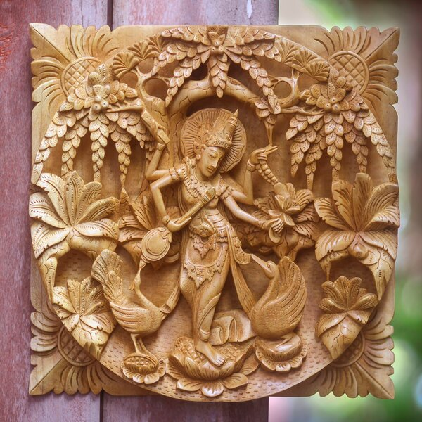 Novica Hindu Goddess Themed Carved Wood Relief Panel Wall