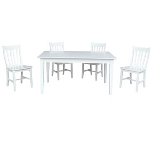 36 x 60 Extendable 5 Piece Dining Set with 4 Slatback Chairs