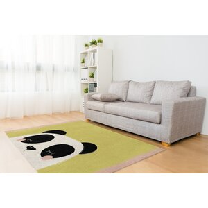 Panda Black/White/Green Area Rug