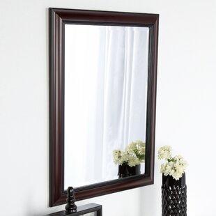 Read Reviews Dalat Cherry Framed Vanity Beveled Wall Mirror By DesignOvation