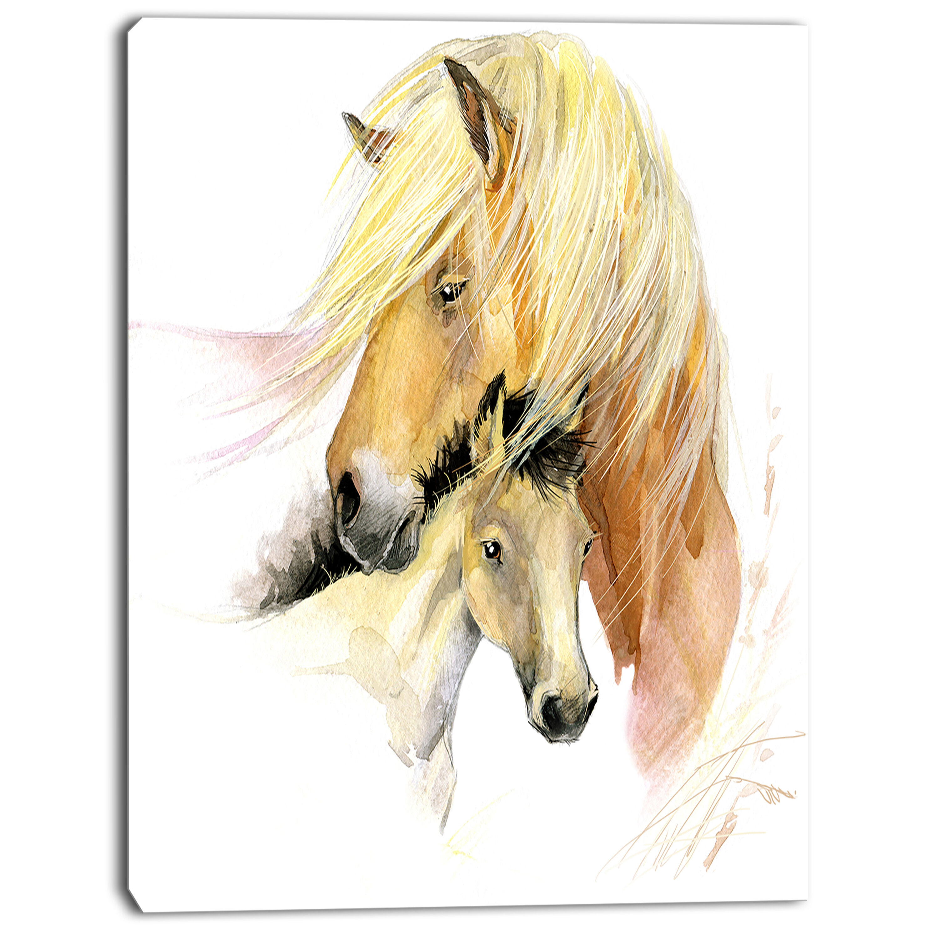 Designart Horse Mom Baby Watercolor Painting Print On Wrapped Canvas