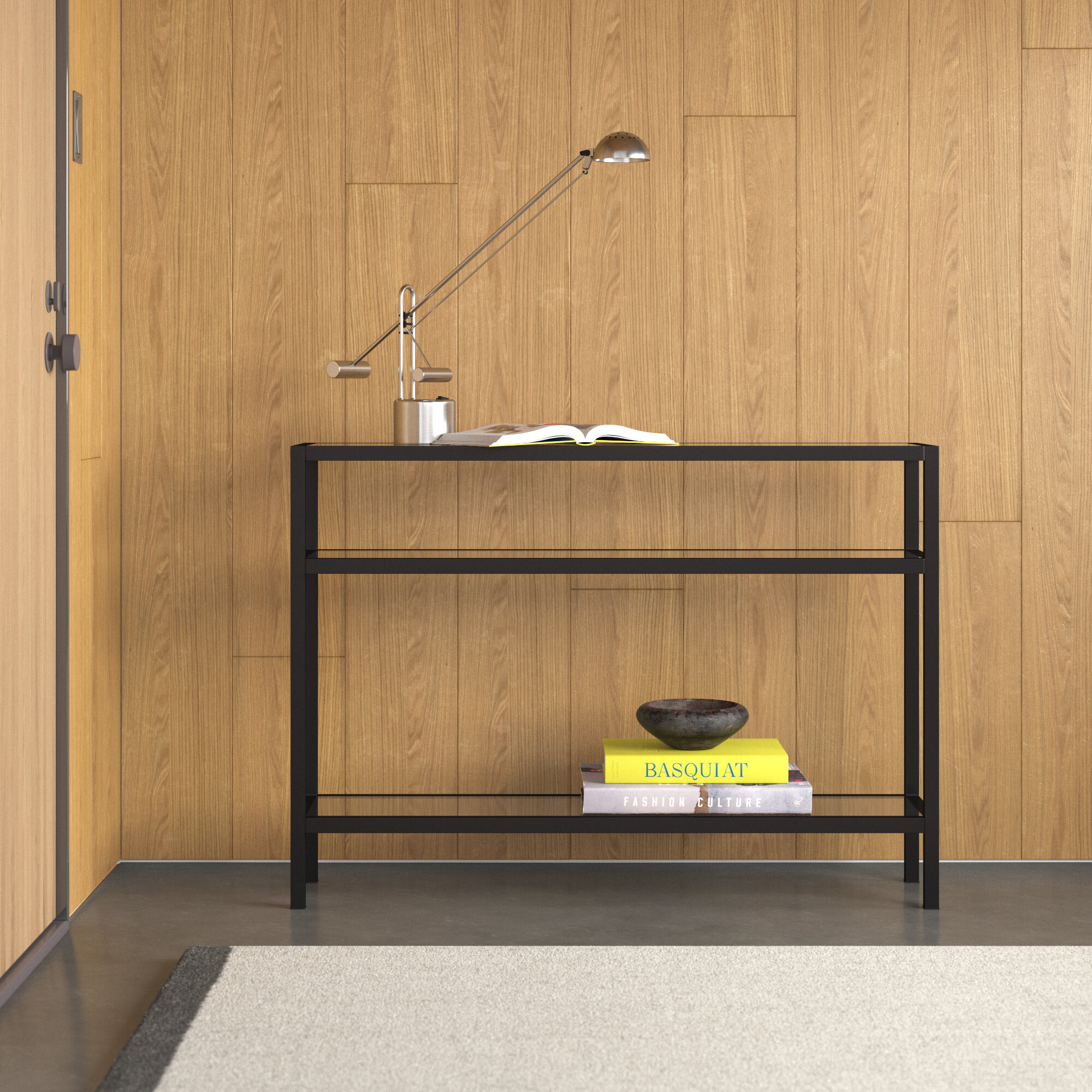 Modern Black//Gold Brushed Metallic Console Table Narrow Hallway Table