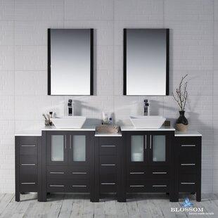 Mance 84 Double Bathroom Vanity Set with Wood Framed Mirror by Orren Ellis
