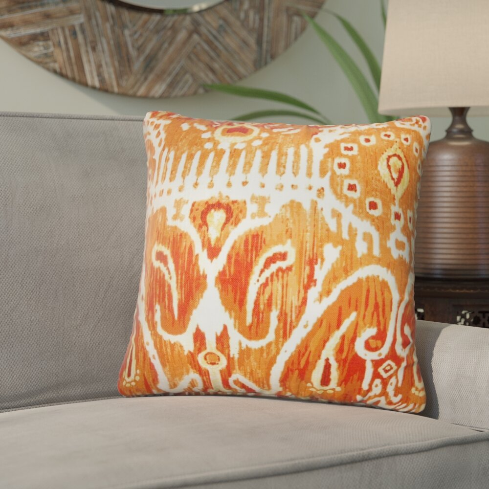 Bungalow Rose Jean Marc Ikat Cotton Throw Pillow Wayfair