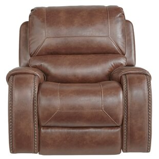 Stampley Leather Air Nailhead Swivel Glider Recliner