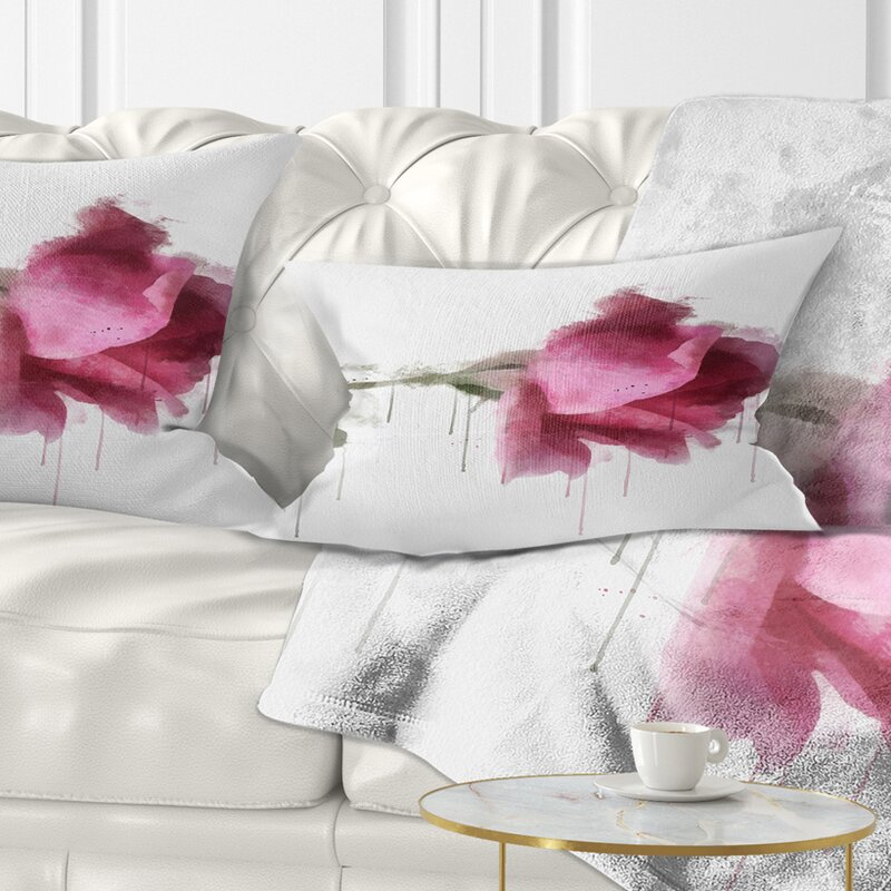 East Urban Home Floral Beautiful Rose Watercolor Drawing Lumbar Pillow Wayfair