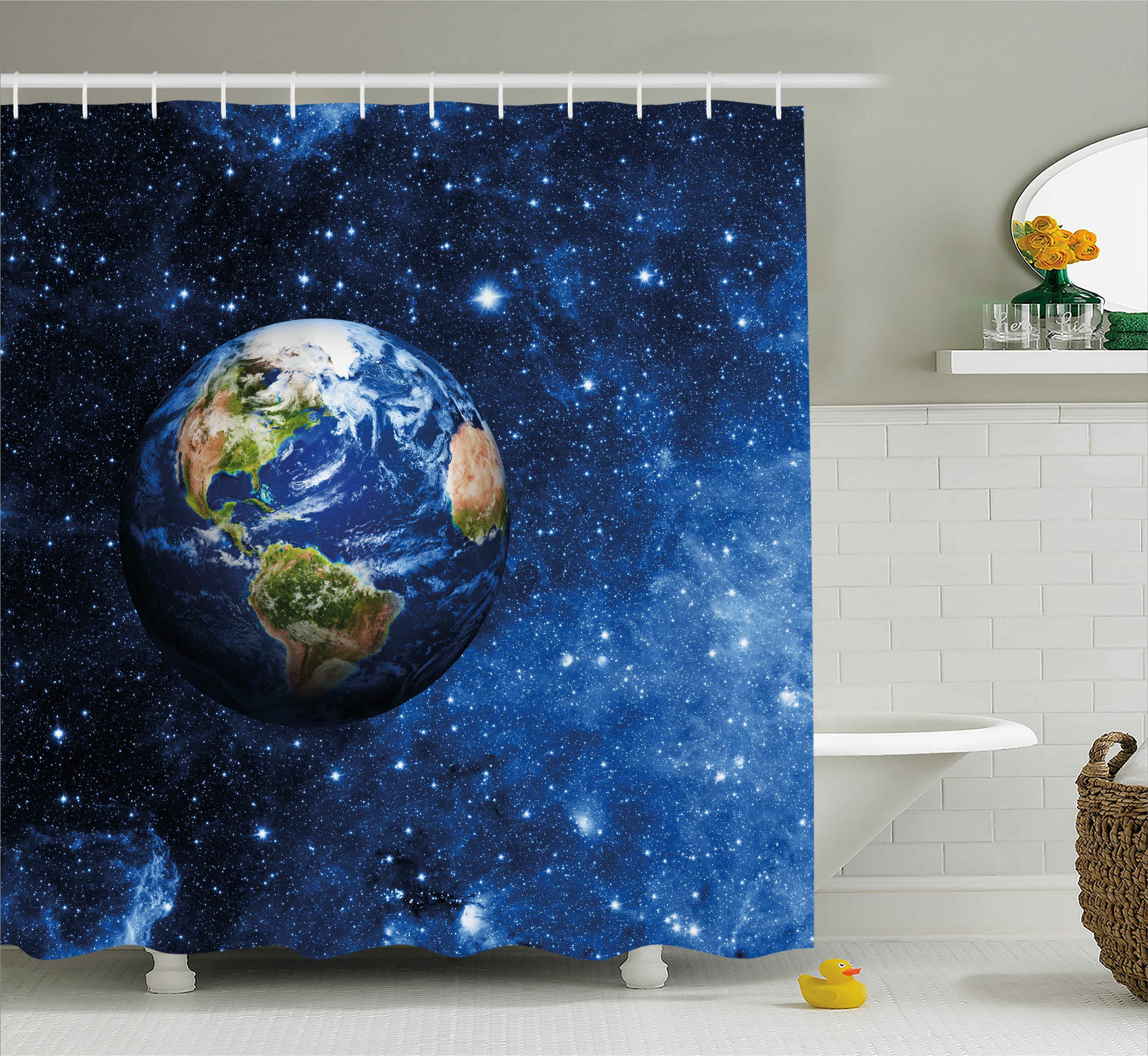 Zoomie Kids Johnny Outer View of Planet Earth Shower Curtain | Wayfair