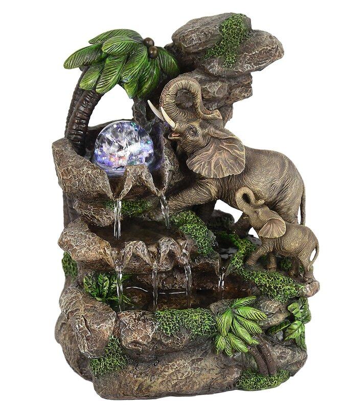 Etonnant Polyresin Elephant Table Fountain With LED Light