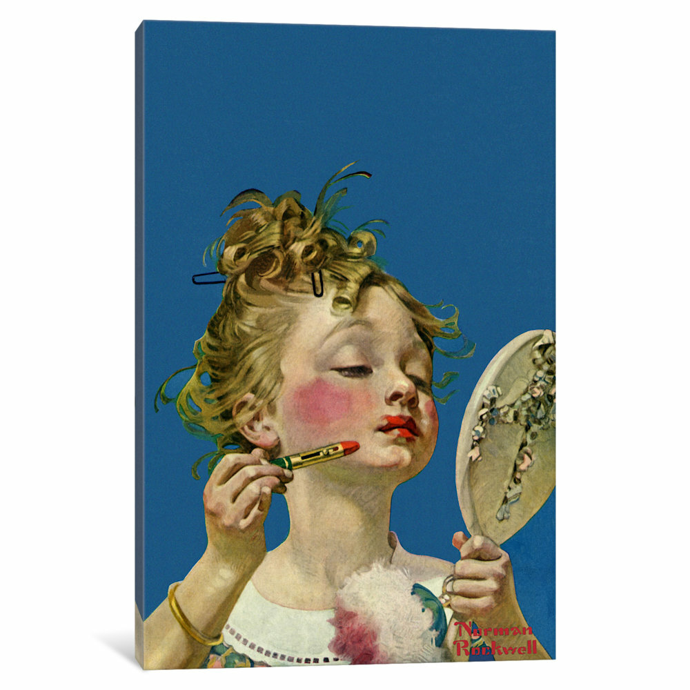 Vault W Artwork Little Girl With Lipstick By Norman Rockwell Painting Print On Wrapped Canvas Reviews Wayfair