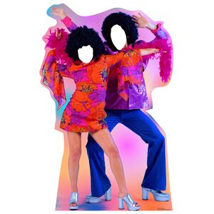 70's Dance Couple Cardboard Cutout Stand-In