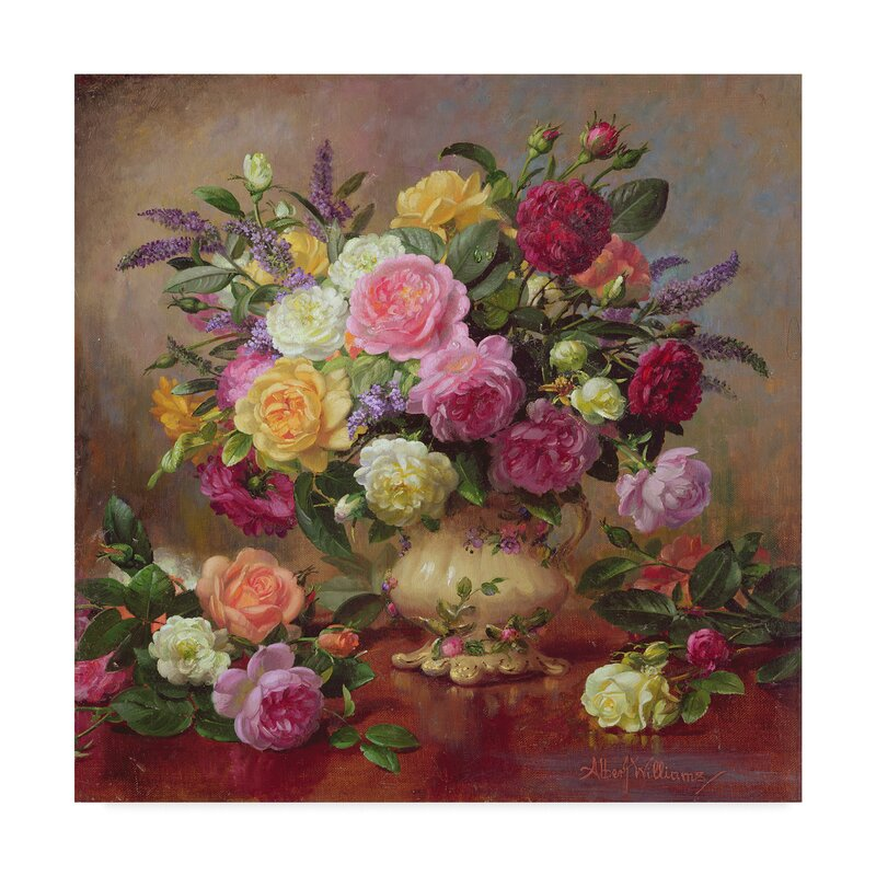Trademark Art Roses From A Victorian Garden Oil Painting Print On Wrapped Canvas Reviews Wayfair Ca