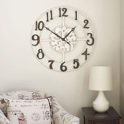 Bungalow Rose Oversized Round Gray Wall Clock & Reviews   Wayfair