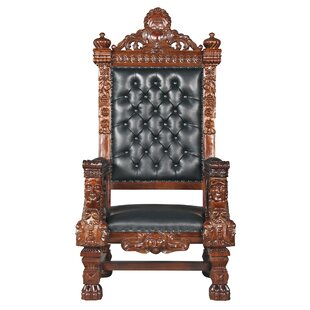 The Fitzjames Throne Leather Armchair by Design Toscano