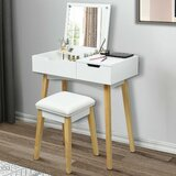 Tempe Makeup Table Cushioned Vanity Set with Stool and Mirror by Wrought Studio™