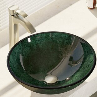 Online Reviews Woodland Glass Circular Vessel Bathroom Sink with Faucet By René By Elkay