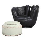 Scheetz Baseball Swivel Barrel Chair with Ottoman by Zoomie Kids