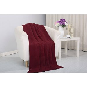 Coggins Solid Classic Woven Knitted Throw