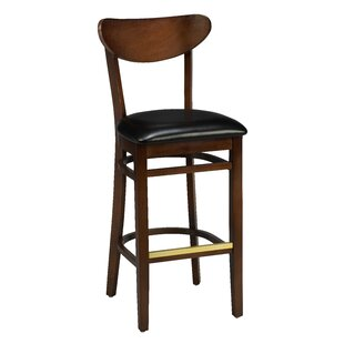 Amoroso Traditional Beechwood Moon Shape Back Upholstered Seat Bar Stool Red Barrel Studio