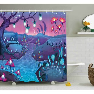 Marissa River Mushrooms Trees Print Single Shower Curtain