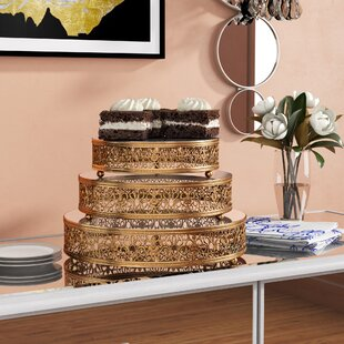 Wyoming Mirror Top 3 Piece Cake Stand Set