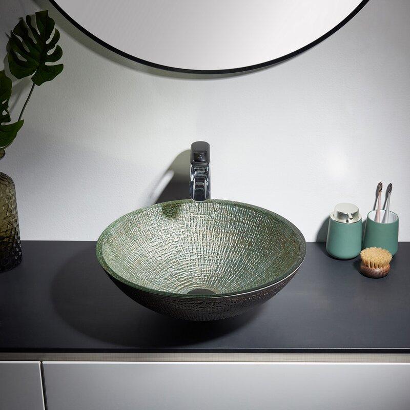 Kalyste Green Glass Handmade Circular Vessel Bathroom Sink Wayfair