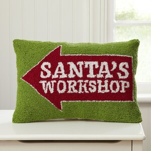 Santa's Workshop Hooked Lumbar Pillow