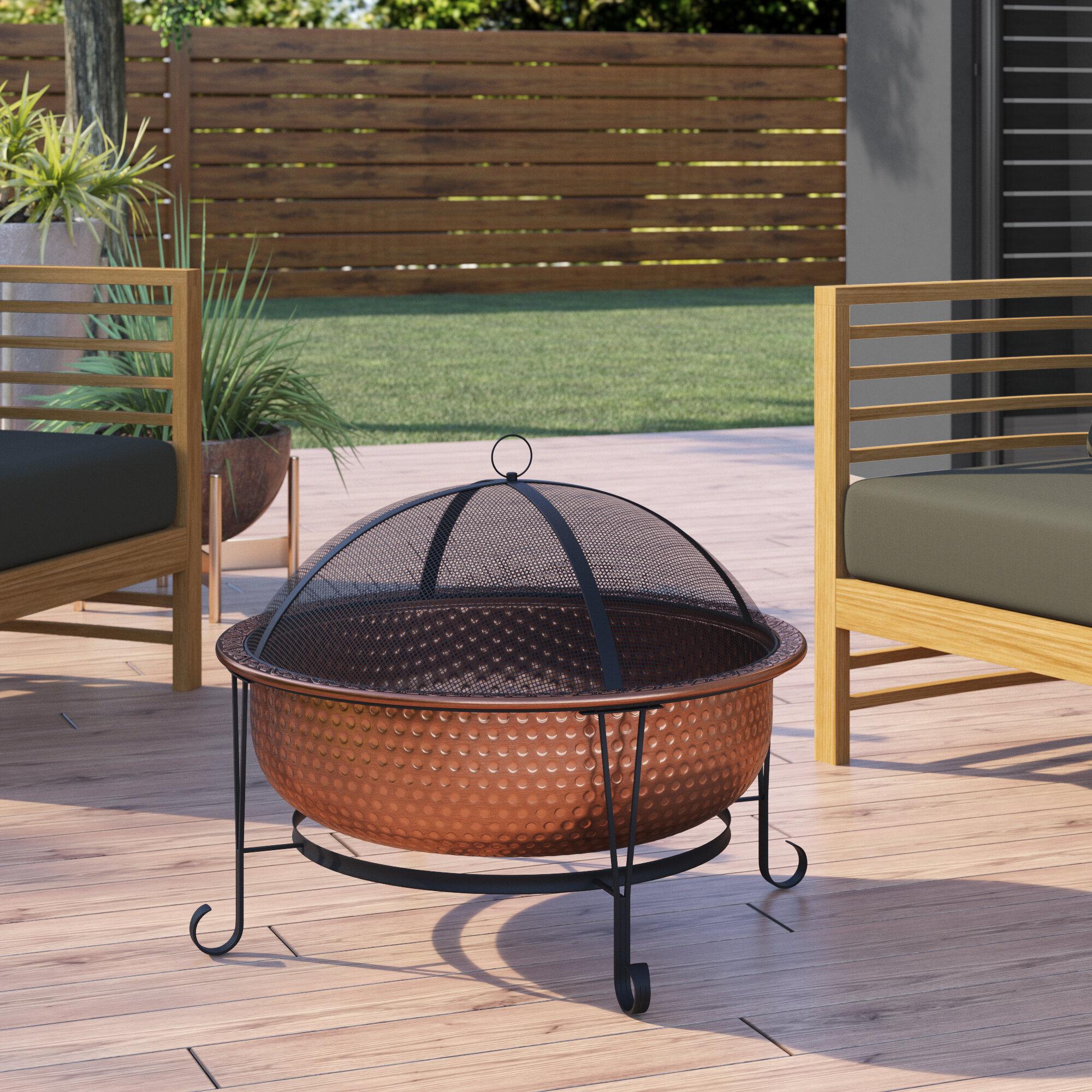 Latitude Run Absolon Copper Wood Burning Fire Pit Reviews Wayfair Ca