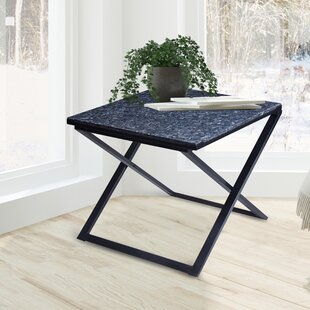 Rhodell Granite Top Metal Frame End Table by Latitude Run