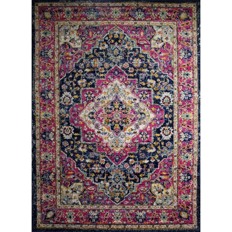 Bungalow Rose Pena Navy/Violet Area Rug, Size: Rectangle 110 x 211