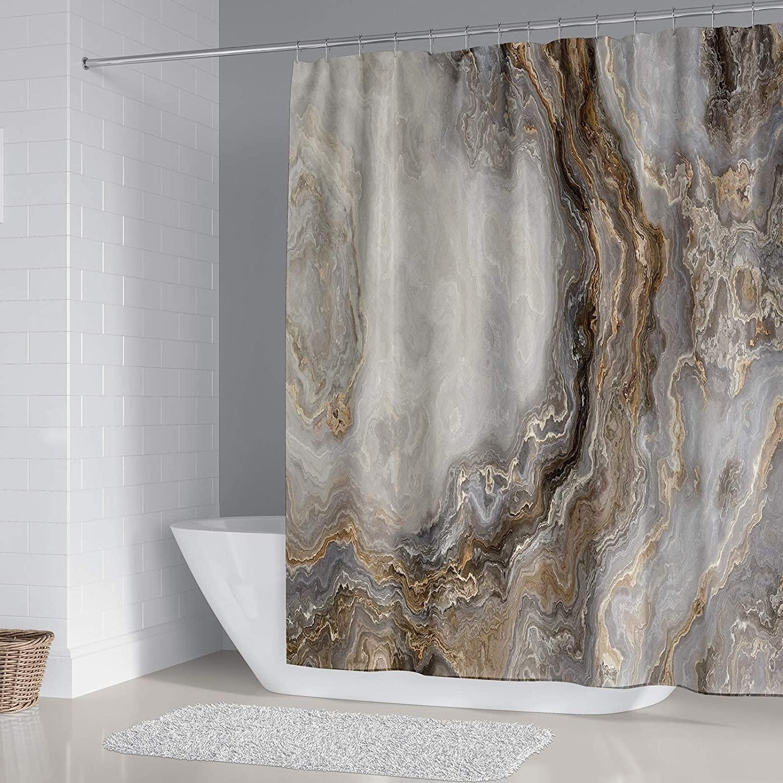 Piece Marble Shower Curtain Set
