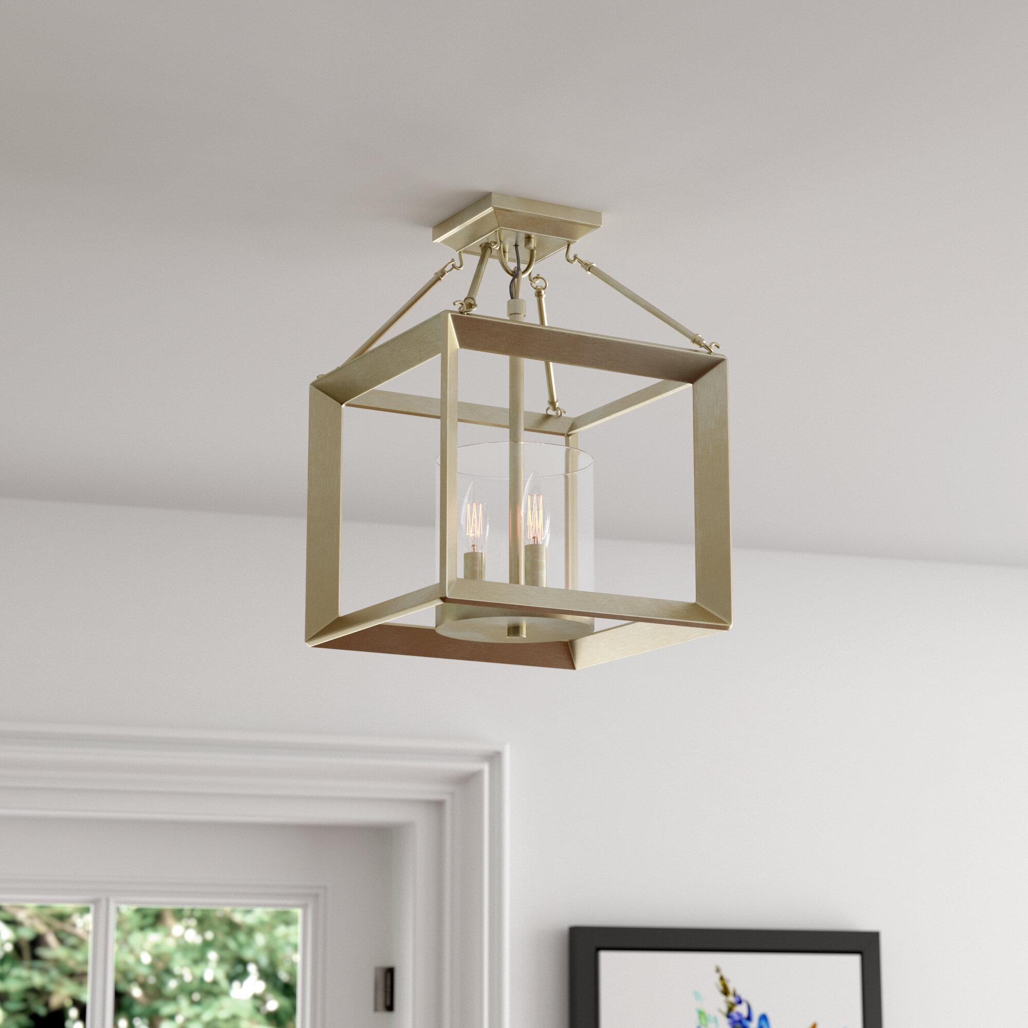 Three Posts Laurent 3 Light 11 8 Lantern Square Semi Flush Mount Reviews Wayfair