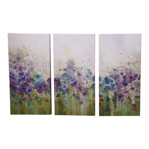 'Watercolour Meadow' Framed Watercolour Painting Print Multi-Piece Image on Canvas