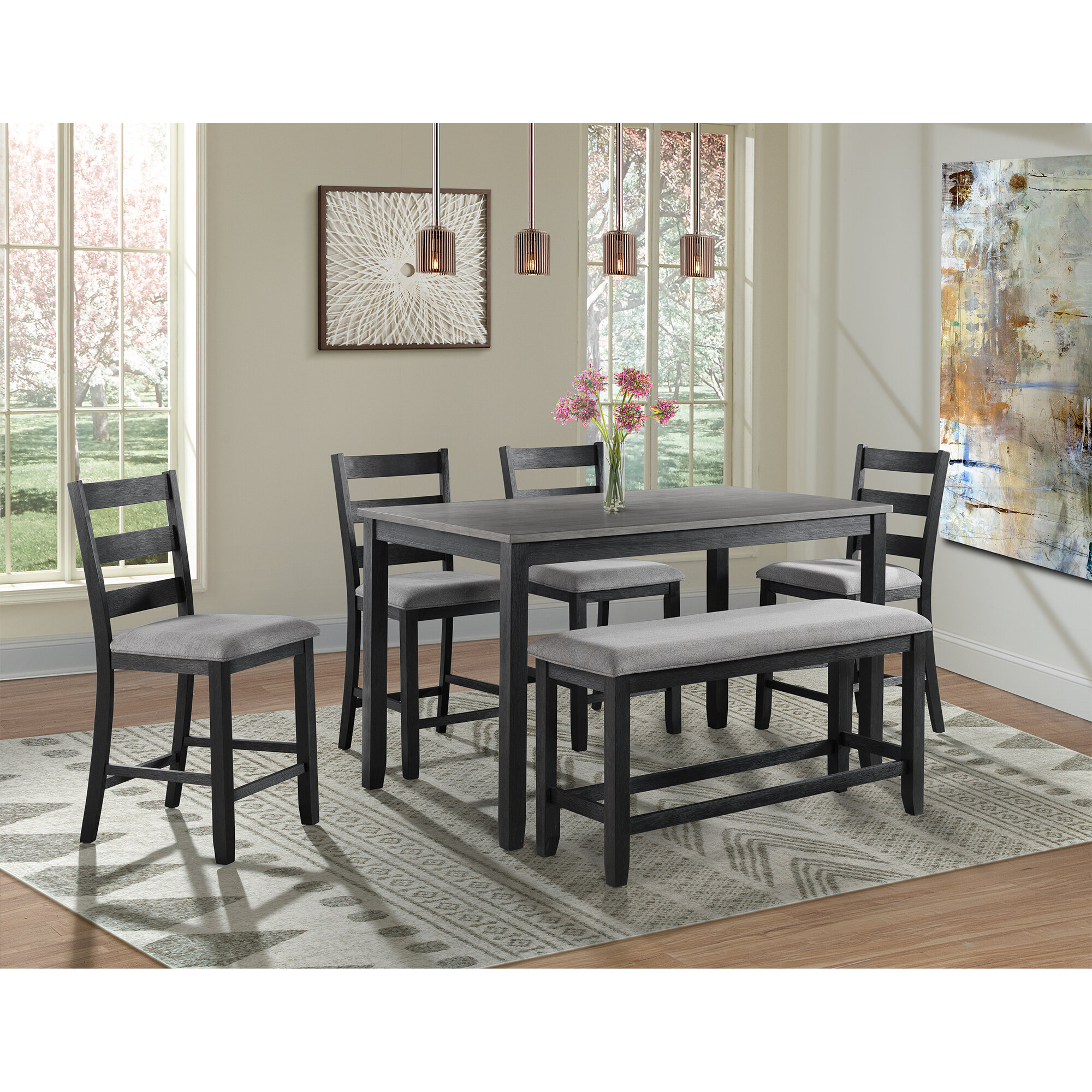 Alcott Hill Mavis Counter Height 6 Piece Pub Table Set Reviews Wayfair