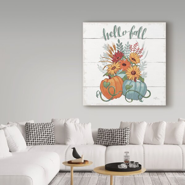 'Fall Fun II - Gray and Blue Pumpkin' Graphic Art Print on Wrapped Canvas